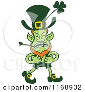 Cartoon Of A Fighting St Patricks Day Leprechaun Royalty Free Vector Clipart