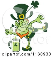 Cartoon Of A St Patricks Day Leprechaun Kicking Beer Royalty Free Vector Clipart by Zooco