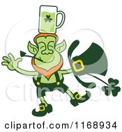 Cartoon Of A St Patricks Day Leprechaun Balancing Beer On His Head Royalty Free Vector Clipart