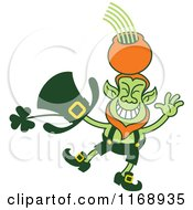 Cartoon Of A St Patricks Day Leprechaun Balancing A Pot On His Head Royalty Free Vector Clipart