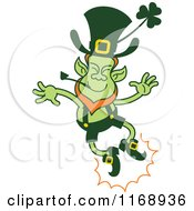 Cartoon Of A St Patricks Day Leprechaun Clapping His Feet Royalty Free Vector Clipart