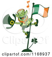 Cartoon Of A St Patricks Day Leprechaun Singing On A Flag Pole Royalty Free Vector Clipart by Zooco