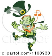Cartoon Of A Singing And Dancing St Patricks Day Leprechaun Royalty Free Vector Clipart