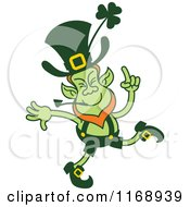 Cartoon Of A Dancing St Patricks Day Leprechaun Royalty Free Vector Clipart