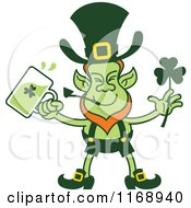 Cartoon Of A St Patricks Day Leprechaun Drinking Green Beer Royalty Free Vector Clipart