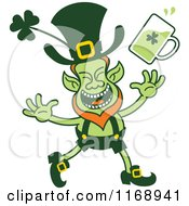 Cartoon Of A Happy St Patricks Day Leprechaun With Beer Royalty Free Vector Clipart