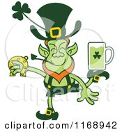 Cartoon Of A St Patricks Day Leprechaun Juggling A Horseshoe And Beer Royalty Free Vector Clipart