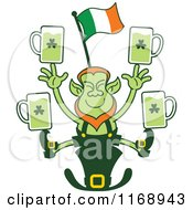 Cartoon Of A St Patricks Day Leprechaun Juggling Beers On A Hat Royalty Free Vector Clipart