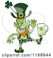St Patricks Day Leprechaun Balancing Beer On His Foot