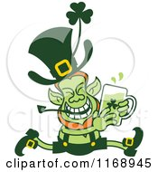Cartoon Of A St Patricks Day Leprechaun Running With Beer Royalty Free Vector Clipart