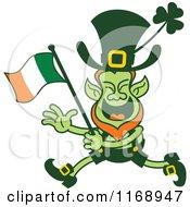 Cartoon Of A St Patricks Day Leprechaun Running And Waving An Irish Flag Royalty Free Vector Clipart by Zooco #COLLC1168947-0152