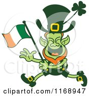 Cartoon Of A St Patricks Day Leprechaun Running And Waving An Irish Flag Royalty Free Vector Clipart
