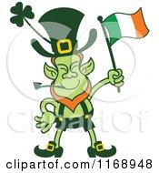 St Patricks Day Leprechaun Waving An Irish Flag