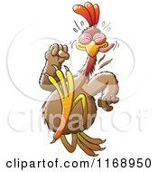 Cartoon Of A Running Chicken Royalty Free Vector Clipart