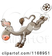 Cartoon Of A Donkey Kicking A Soccer Ball With His Hind Legs Royalty Free Vector Clipart