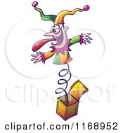 Cartoon Of A Jester Popping Out Of A Jack In The Box Royalty Free Vector Clipart