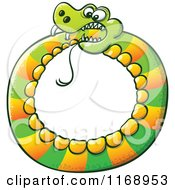 Cartoon Of A Circled Snake Biting Its Own Tail Royalty Free Vector Clipart