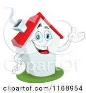 Cartoon Of A Happy White House Mascot Presenting Royalty Free Vector Clipart