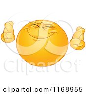 Cartoon Of A Hopeful Smiley Emoticon Crossing Its Fingers Royalty Free Vector Clipart