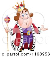 Cartoon Of A Friendly King Presenting Royalty Free Vector Clipart