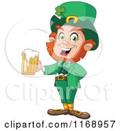 Cartoon Of A Happy St Patricks Day Leprechaun Holding Beer Royalty Free Vector Clipart