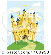 Cartoon Of A Yellow Castle On A Hill Royalty Free Vector Clipart