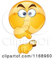 Cartoon Of An Annoyed Smiley Emoticon Pointing To A Watch Royalty Free Vector Clipart