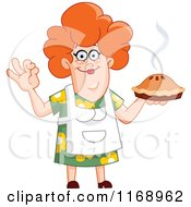 Cartoon Of A Pleased Red Haired Woman Holding A Fresh Pie Royalty Free Vector Clipart