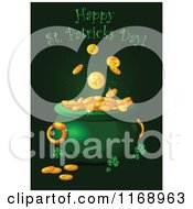 Cartoon Of A Happy St Patricks Day Greeting Over A Leprechauns Pot Of Gold Royalty Free Vector Clipart by Pushkin
