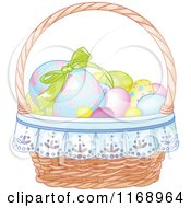 Cartoon Of An Easter Basket With Colorful Eggs Royalty Free Vector Clipart