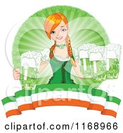 Beautiful Irish Beer Maiden Serving Green St Patricks Day Beer Over A Banner
