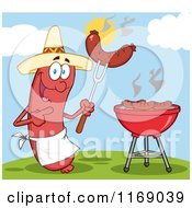 Cartoon Of A Mexican Sausage Chef Mascot Pointing To A Weenie On A Fork On A Hill Royalty Free Vector Clipart by Hit Toon