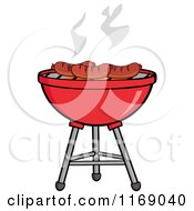 Cartoon Of Sausages Roasting On A Charcoal Bbq Grill Royalty Free Vector Clipart