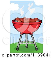 Cartoon Of Sausages Roasting On A Charcoal Bbq Grill On A Hill Royalty Free Vector Clipart