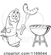Cartoon Of A Black And White Sausage Cook Mascot Pointing To A Weenie On A Fork Royalty Free Vector Clipart