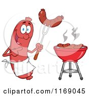 Cartoon Of A Sausage Cook Mascot Pointing To A Weenie On A Fork Royalty Free Vector Clipart