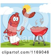 Cartoon Of A Sausage Cook Mascot Pointing To A Weenie On A Fork On A Hill Royalty Free Vector Clipart