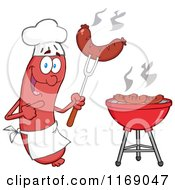 Cartoon Of A Sausage Chef Mascot Pointing To A Weenie On A Fork Royalty Free Vector Clipart by Hit Toon