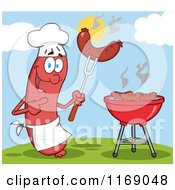 Cartoon Of A Sausage Chef Mascot Pointing To A Weenie On A Fork On A Hill Royalty Free Vector Clipart by Hit Toon
