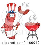 Cartoon Of An American Sausage Chef Mascot Pointing To A Weenie On A Fork Royalty Free Vector Clipart