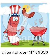 Cartoon Of An American Sausage Chef Mascot Pointing To A Weenie On A Fork On A Hill Royalty Free Vector Clipart