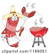Cartoon Of A Mexican Sausage Chef Mascot Pointing To A Weenie On A Fork Royalty Free Vector Clipart by Hit Toon