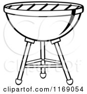 Cartoon Of A Black And White Charcoal Bbq Grill Royalty Free Vector Clipart