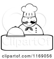 Cartoon Of A Happy Black And White Chef Holding A Cloche Platter And A Winking Over Copyspace Royalty Free Vector Clipart