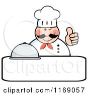 Cartoon Of A Happy Chef Holding A Cloche Platter And A Thumb Up Over Copyspace Royalty Free Vector Clipart