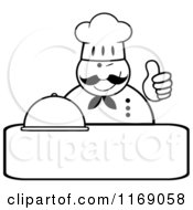 Cartoon Of A Happy Black And White Chef Holding A Cloche Platter And A Thumb Up Over Copyspace Royalty Free Vector Clipart