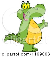 Cartoon Of A Happy Alligator Holding A Thumb Up Royalty Free Vector Clipart