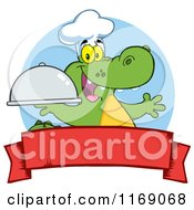 Cartoon Of A Happy Chef Alligator Holding A Platter Cloche Over A Red Banner Royalty Free Vector Clipart