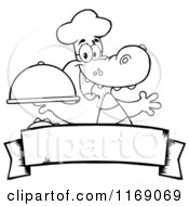 Cartoon Of A Black And White Chef Alligator Holding A Platter Cloche Over A Banner Royalty Free Vector Clipart by Hit Toon