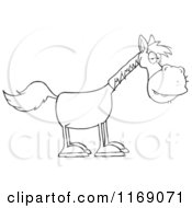 Cartoon Of An Old Black And White Horse Royalty Free Vector Clipart
